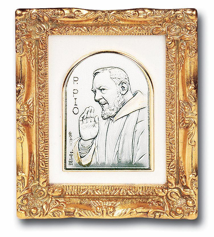 Salerni St Padre Pio with Antique Gold Frame