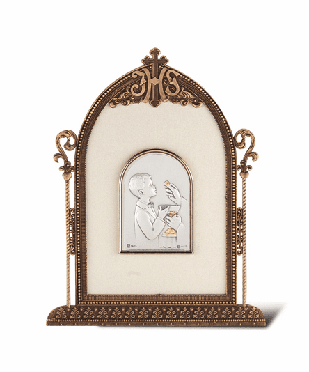 Salerni Sterling Silver Boy's First Holy Communion Plaque