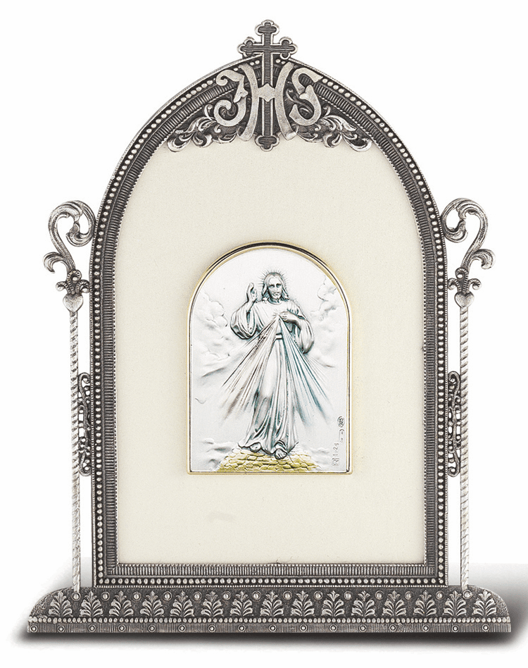 Salerni Sterling Silver Divine Mercy Easel Back Plaque