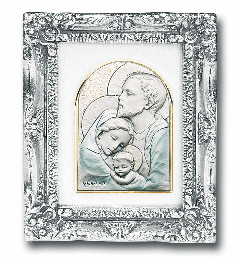 Salerni Sterling Silver Holy Family with Antique Silver Frame