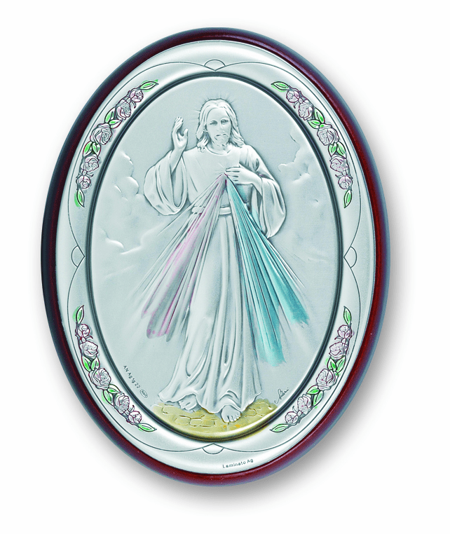 Salerni Sterling Silver Large Jesus Divine Mercy Wall Plaque