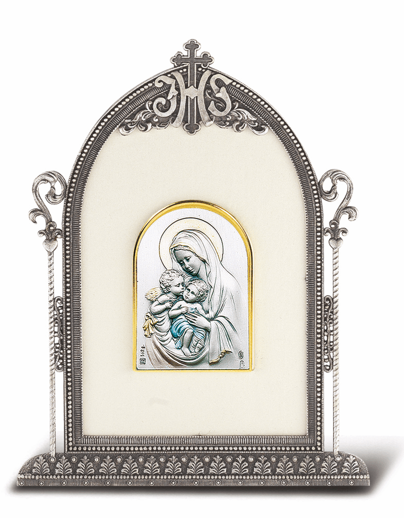 Salerni Sterling Silver Madonna and Child with an Angel Plaque