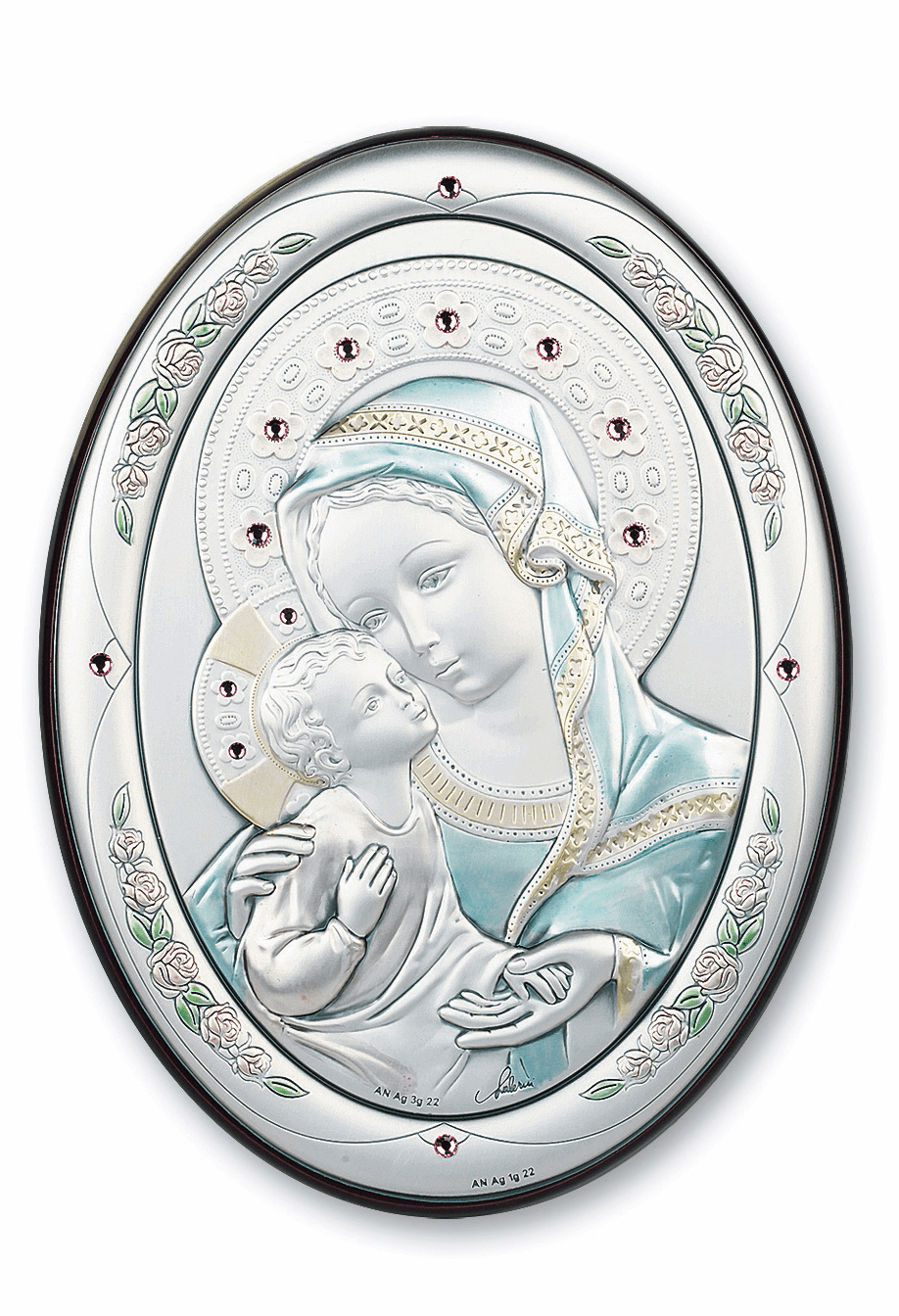 Salerni Sterling Silver Madonna and Child with Pink Swarovski Crystals Wall Plaque