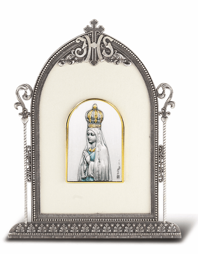 Salerni Sterling Silver Our Lady of Fatima Easel Back Plaque