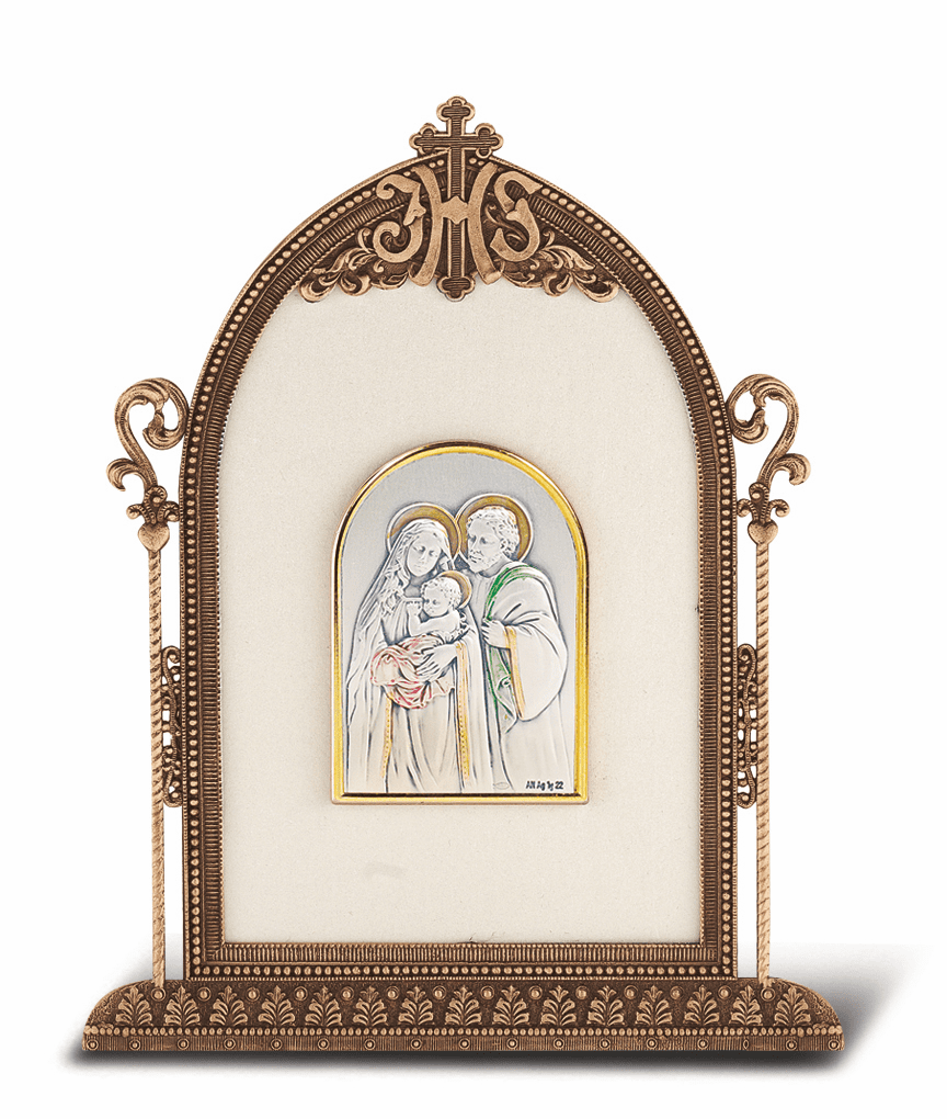 Salerni Sterling Silver Religious Holy Family Easel Back Plaque