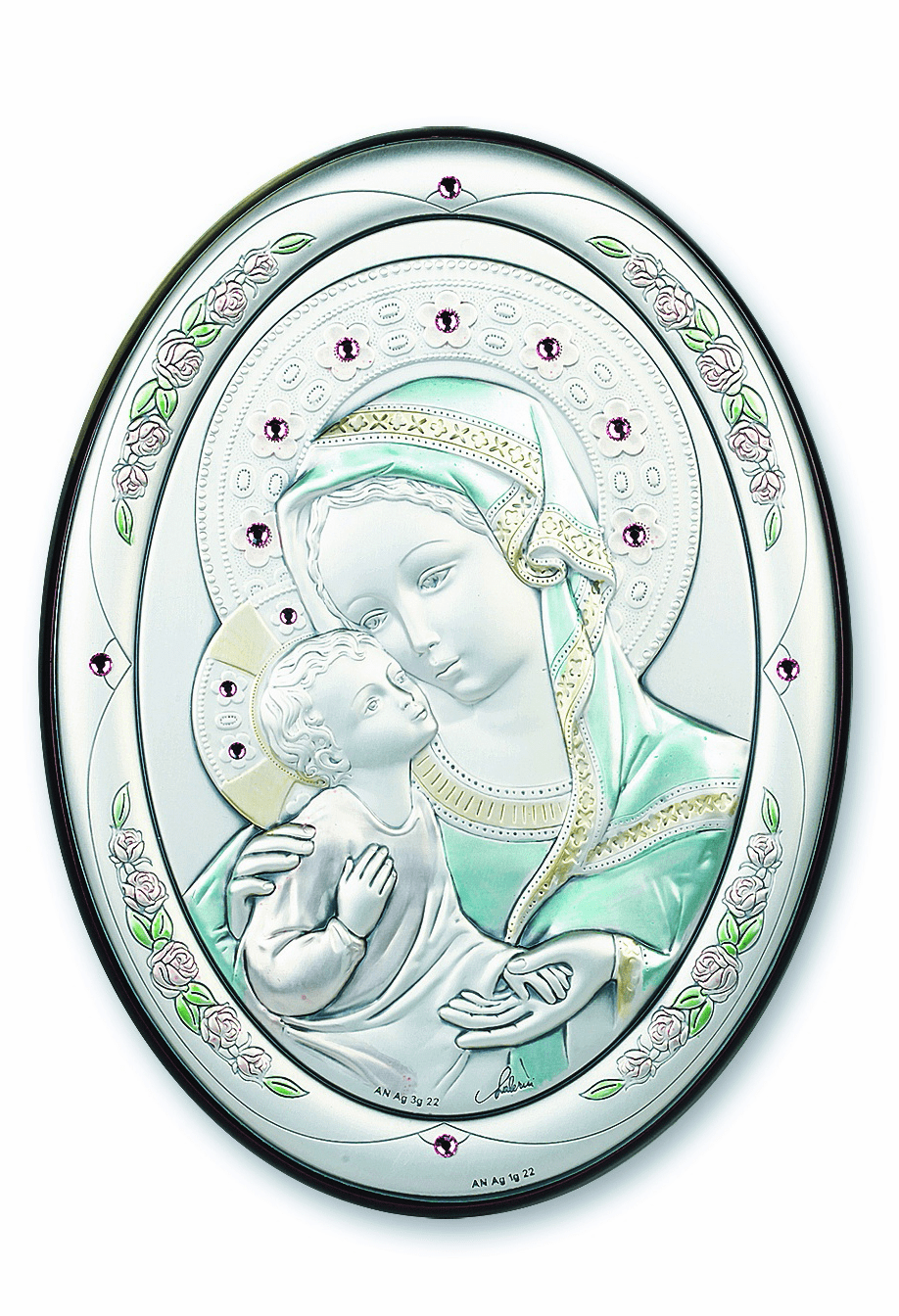 Salerni Sterling Silver Small Oval Madonna and Child Wall Plaque