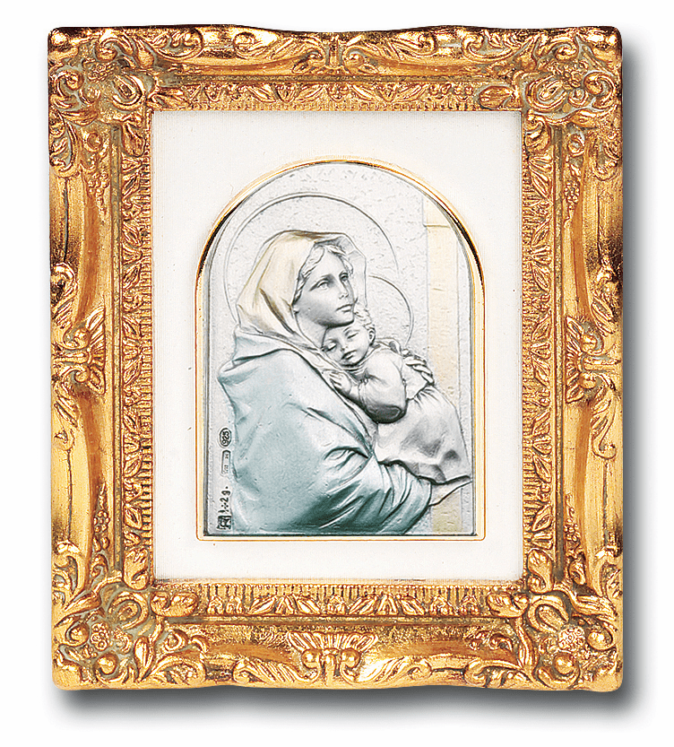 Salerni Street Madonna and Child with Antique Gold Frame