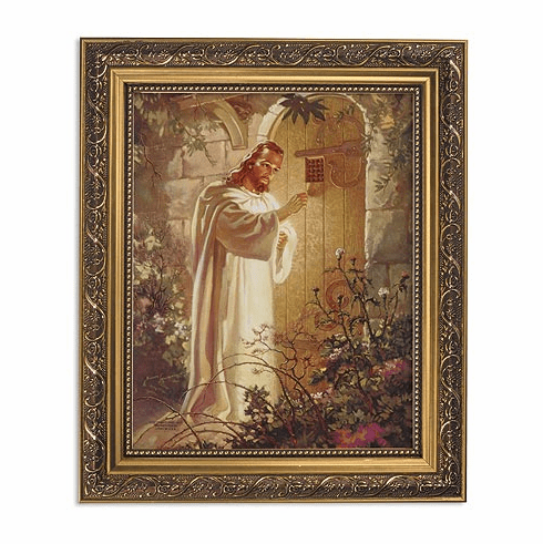 Sallman Christ Knocking at Hearts Door Framed Print Picture with Gold Frame by Gerffert