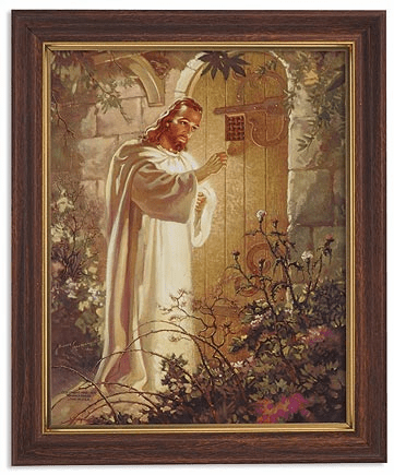 Sallman Christ Knocking at Hearts Door Framed Print Picture with Woodtone Frame by Gerffert