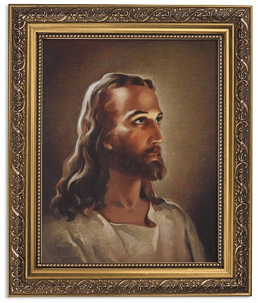 Sallman: Head of Christ Framed Print Picture with Gold Frame by Gerffert