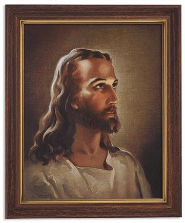 Sallman: Head of Christ Framed Print Picture with Woodtone Frame by Gerffert