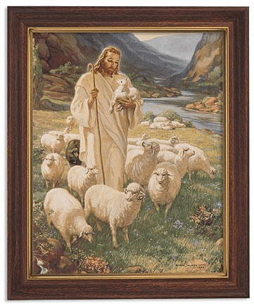 Sallman Lord Is My Shepherd Framed Print Picture with Woodtone Frame by Gerffert