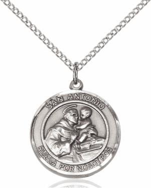 San Antonio/St Anthony Spanish Sterling Silver Medal Necklace by Bliss Manufacturing