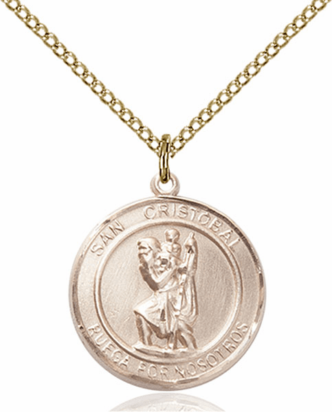 San Cristobal/St Christopher Spanish Patron Saint 14kt Gold-filled Medal by Bliss