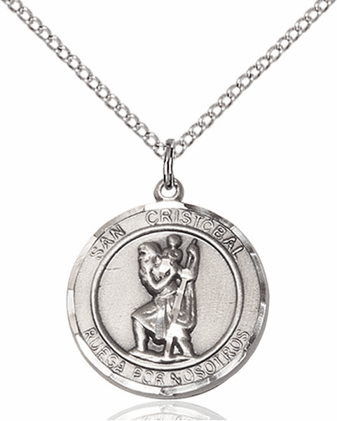 San Cristobal/St Christopher Spanish Pewter Medal Necklace by Bliss