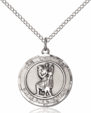 San Cristobal/St Christopher Spanish Silver-filled Medal Necklace by Bliss Manufacturing