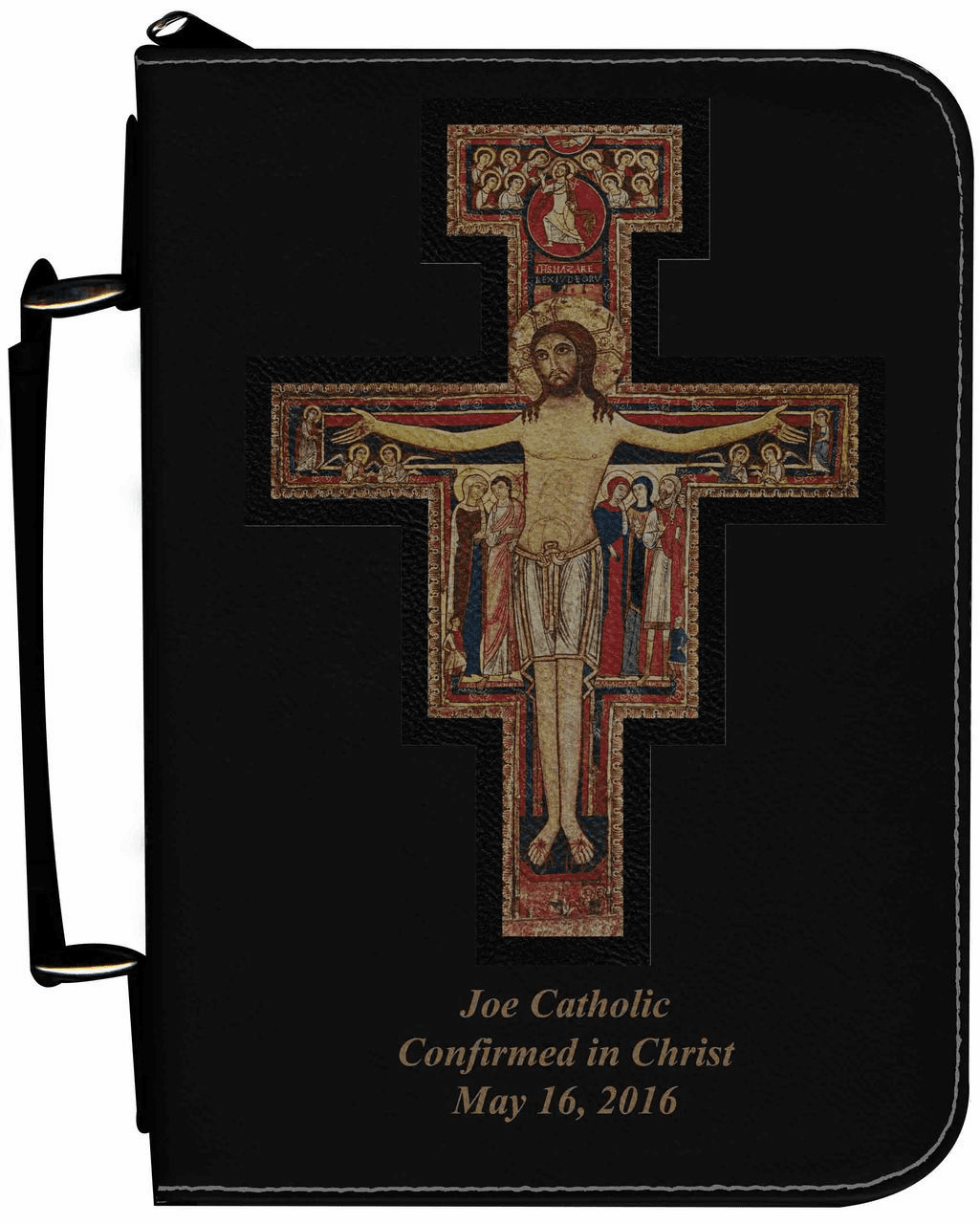 San Damiano Cross Personalized Black Catholic Bible Cover Case