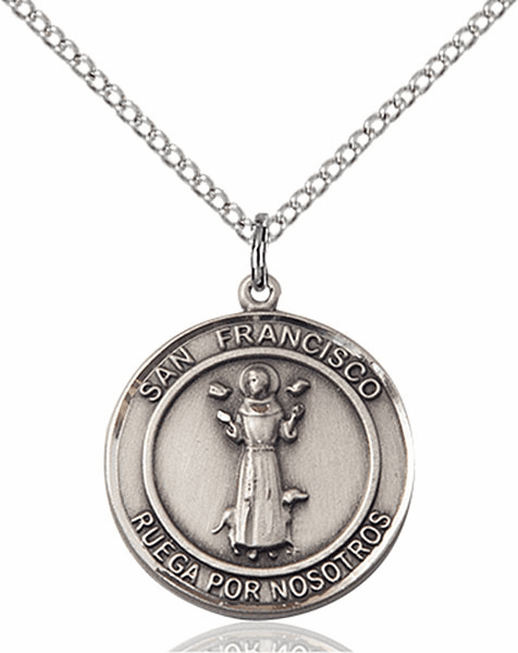 San Francisco/St Francis Spanish Pewter Medal Necklace by Bliss Manufacturing