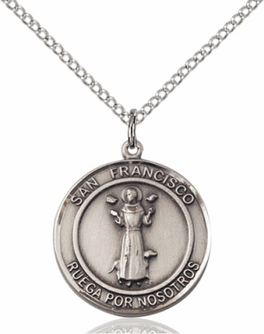 San Francisco/St Francis Spanish Sterling Silver Medal Necklace by Bliss