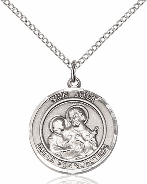 San Jose/St Joseph Spanish Pewter Medal Necklace by Bliss Manufacturing