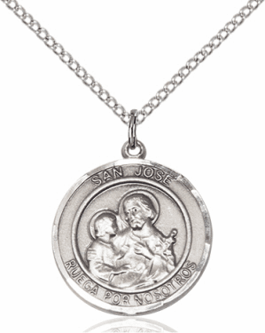 San Jose/St Joseph Spanish Sterling Silver Medal Necklace by Bliss Manufacturing