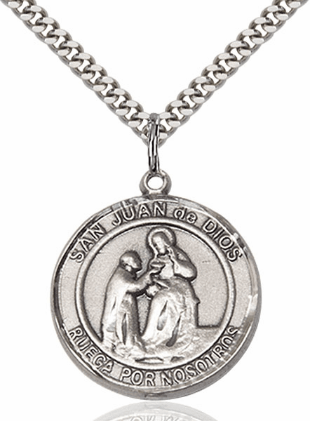 San Juan de Dios/St John of God Spanish Silver-filled Medal Necklace by Bliss Manufacturing