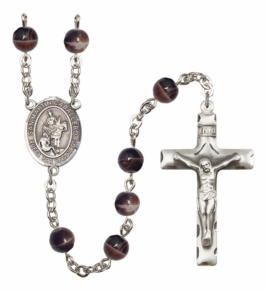 San Martin Caballero/St Martin of Tours 7mm Brown Gemstone Prayer Rosary by Bliss