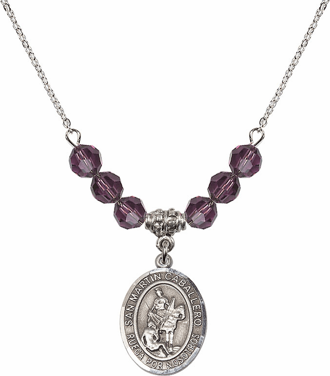 San Martin Caballero/St Martin of Tours Sterling February Amethyst Swarovski Crystal Beaded Necklace by Bliss Mfg