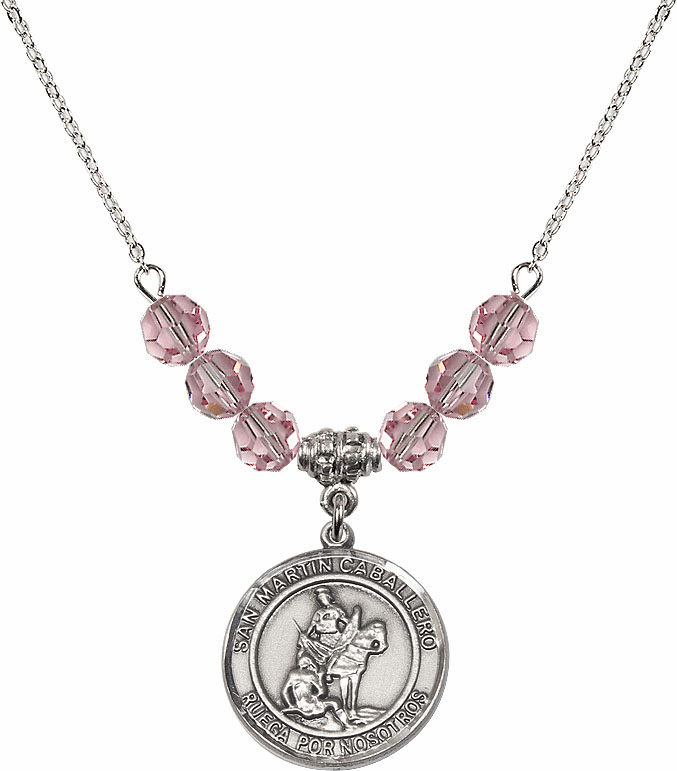 San Martin Caballero/St Martin of Tours Sterling Lt Rose Swarovski Crystal Beaded Necklace by Bliss Mfg