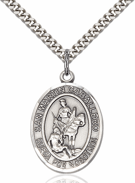 San Martin Caballero/St Martin of Tours Sterling Silver Patron Saint Medal by Bliss