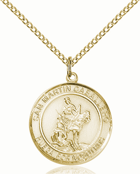 San Martin Caballero/St Martin of Toursis Spanish Patron Saint 14kt Gold-filled Medal by Bliss
