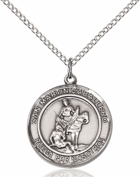 San Martin Caballero/St Martin of Toursis Spanish Pewter Medal Necklace by Bliss Manufacturing
