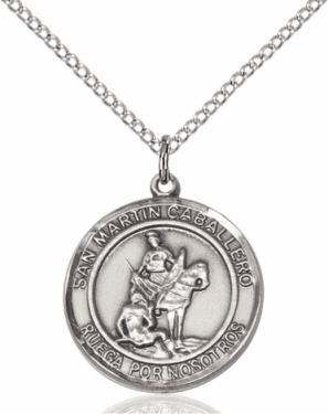 San Martin Caballero/St Martin of Toursis Spanish Silver-filled Medal Necklace by Bliss Manufacturing