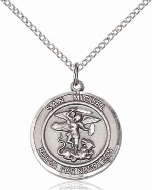 San Miguel Arcangel/St Michael Archangel Spanish Medal Necklace by Bliss