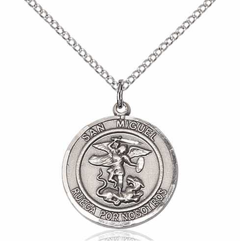 San Miguel Arcangel/St Michael Archangel Spanish Pewter Medal Necklace by Bliss Manufacturing