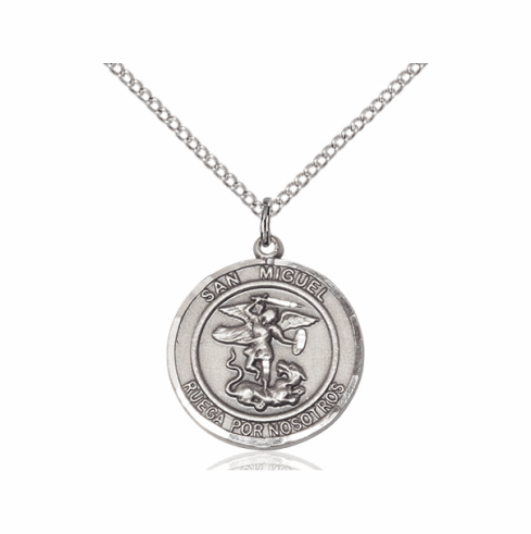 San Miguel Arcangel/St Michael Archangel Spanish Silver-filled Medal Necklace by Bliss Manufacturing