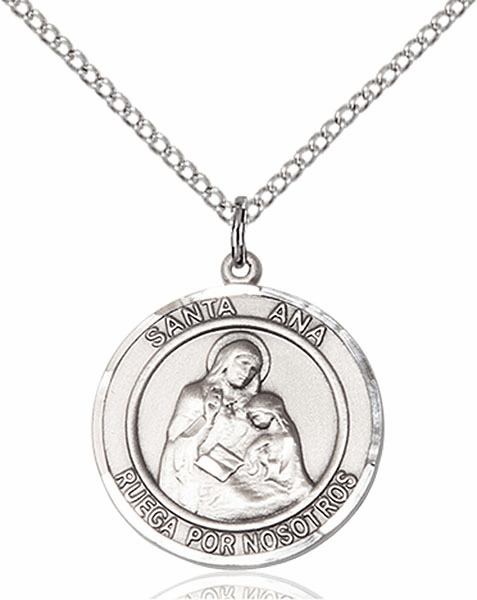 Santa Ana/St Ann Spanish Pewter Medal Necklace by Bliss Manufacturing