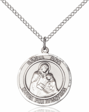 Santa Ana/St Ann Spanish Sterling Silver Medal Necklace by Bliss Manufacturing