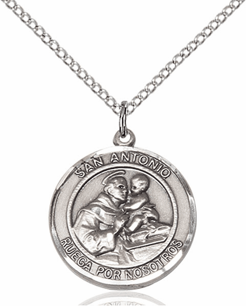 Santa Antonio/St Anthony Spanish Pewter Medal Necklace by Bliss Manufacturing