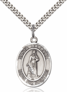 Santa Barbara Pewter Patron Saint Necklace by Bliss