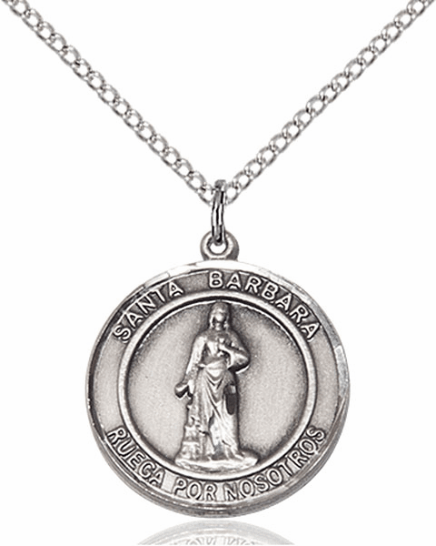 Santa Barbara/St Barbara Spanish Pewter Medal Necklace by Bliss Manufacturing