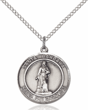 Santa Barbara/St Barbara Spanish Sterling Silver Medal Necklace by Bliss Manufacturing