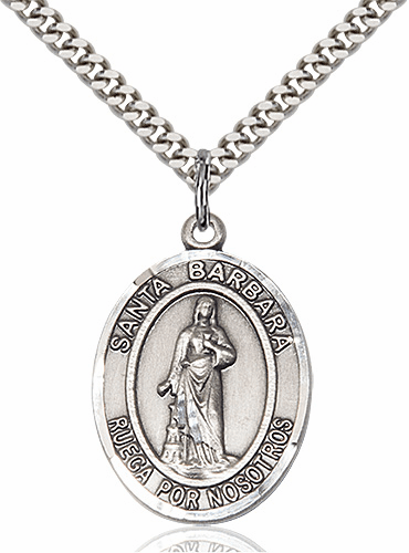 Santa Barbara Sterling Silver Patron Saint Necklace by Bliss