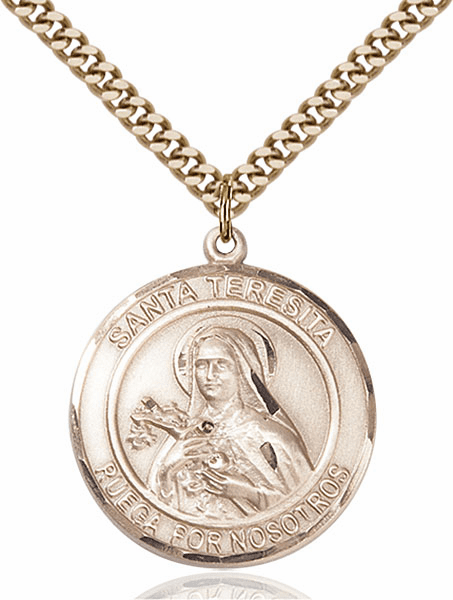 Santa Teresita Nonato Spanish 14kt Gold-filled Round Patron Saint Medal Necklace by Bliss