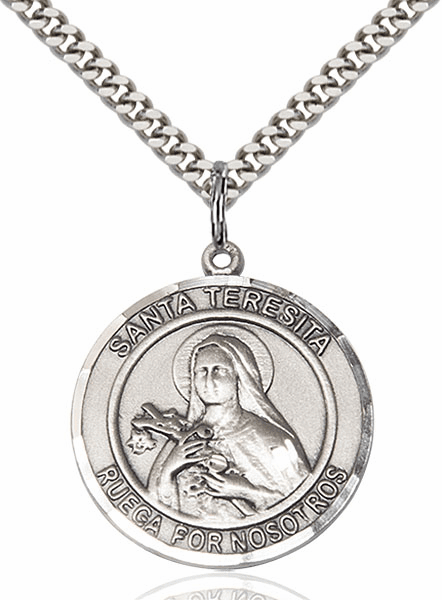 Santa Teresita Nonato Spanish Pewter Round Patron Saint Medal Necklace by Bliss