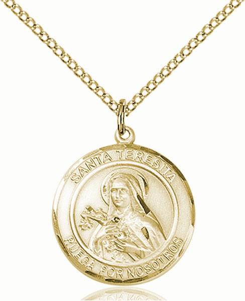 Santa Teresita/St Therese Lisieux Spanish Patron Saint 14kt Gold-filled Medal by Bliss