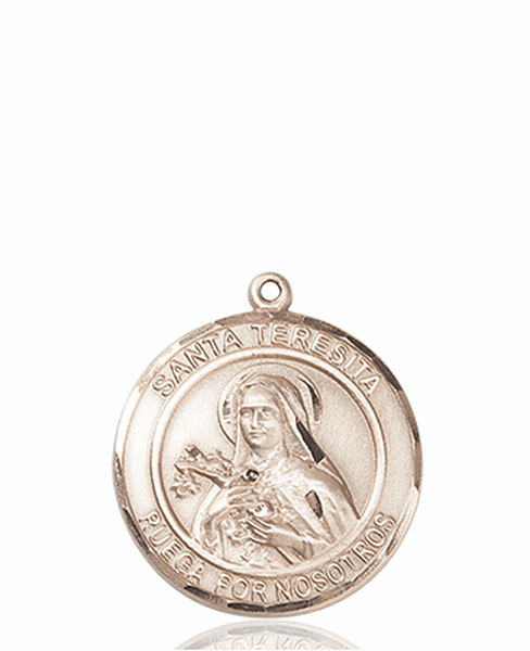 Santa Teresita/St Therese Lisieux Spanish Patron Saint 14kt Gold Medal by Bliss