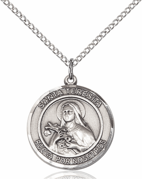 Santa Teresita/St Therese Lisieux Spanish Pewter Medal Necklace by Bliss Manufacturing