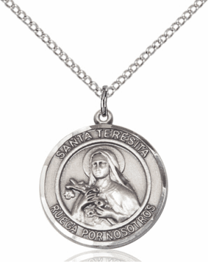 Santa Teresita/St Therese Lisieux Spanish Silver-filled Medal Necklace by Bliss Manufacturing