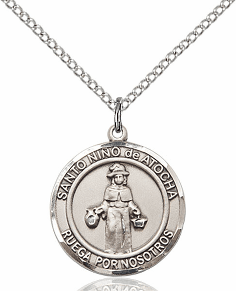 Santo Nino de Atocha/Infant of Prague Spanish Pewter Medal Necklace by Bliss Manufacturing